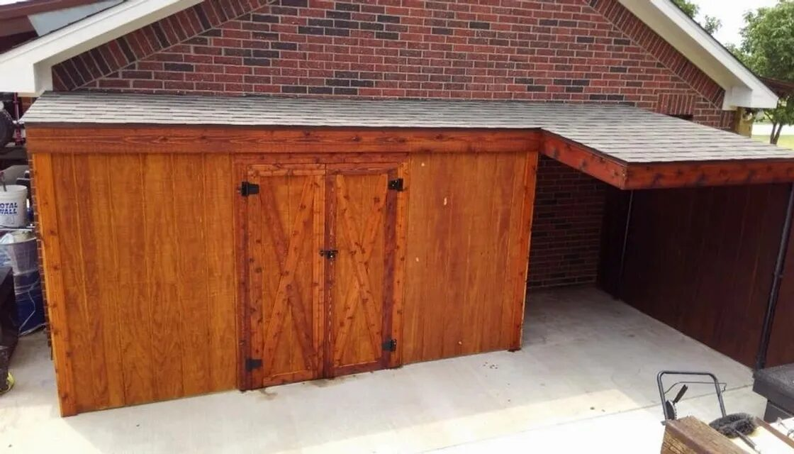 13x4 Storage Building with 6x8 Riding Mower Port, Sunnyvale, TX.  Allen Rustic Wood Designs
