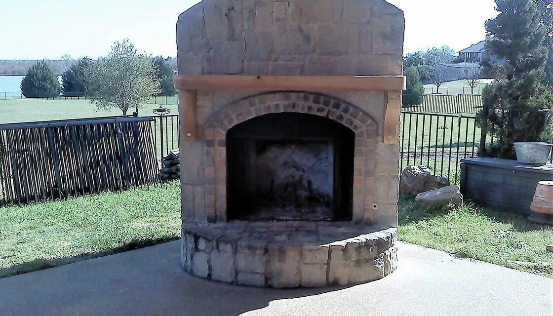 Outdoor Cedar Fireplace Mantel, Forney, TX., Allen Rustic Wood Designs